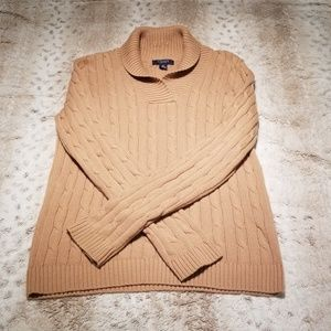 Chaps Tan Cowl Neck Cable Knit Sweater